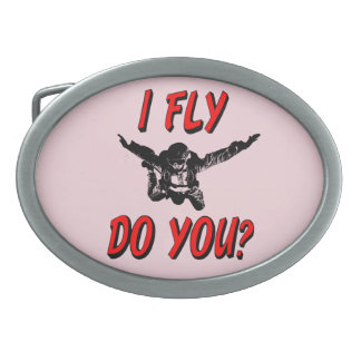 I Fly, Do You? (blk) Oval Belt Buckle