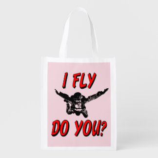 I Fly, Do You? (blk) Reusable Grocery Bag