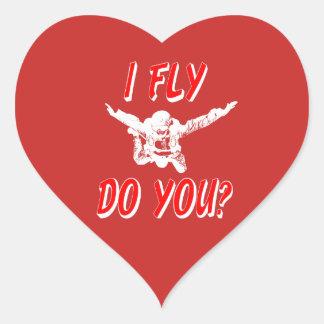 I Fly, Do You? (wht) Heart Sticker
