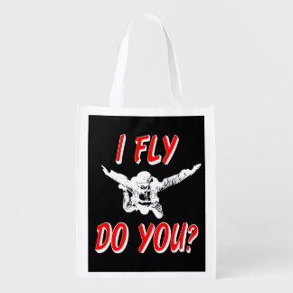 I Fly, Do You? (wht) Reusable Grocery Bag