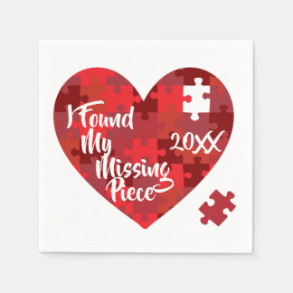 I Found My Missing Piece - Puzzle Heart Disposable Napkins