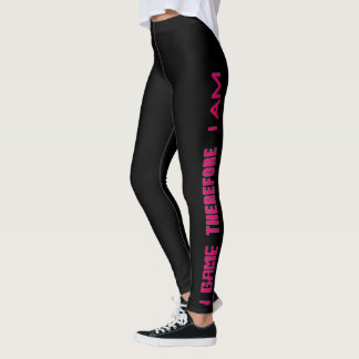 I Game Therefore I AM Gamer Girl Pink Leggings