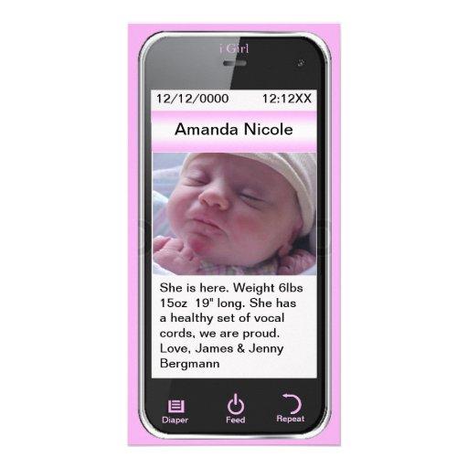 i Girl Cell Phone Birth Announcement Photo Card