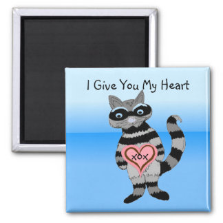 I Give You My Heart Raccoon Square Magnet