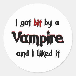 I got bit by a Vampire Round Sticker