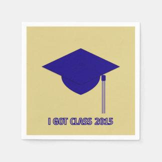 I Got Class 2015 gold with dark blue mortarboard Paper Napkin