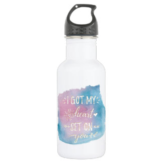 I Got My Heart Set On You Blue and Pink 532 Ml Water Bottle