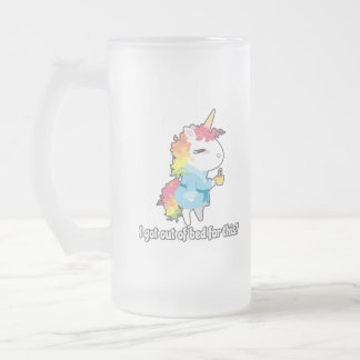 I got out of bed for this? Snarkles the Unicorn Frosted Glass Beer Mug