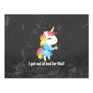 I got out of bed for this? Snarkles the Unicorn Postcard