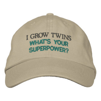 I GROW TWINS what's your superpower? Embroidered Baseball Caps
