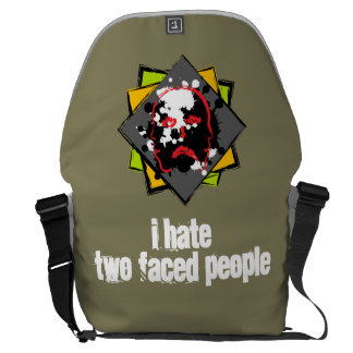 """I hastens two faced people"" messenger bag"