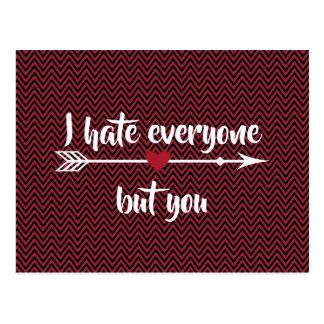I Hate Everyone Valentine's Day Postcard