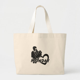 I hate Monday! Large Tote Bag