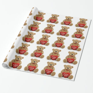 """I hate you"" cute teddy bear holding love heart Wrapping Paper"