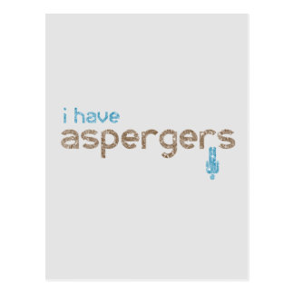 I have aspergers man postcard