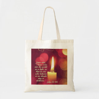 I Have Come as a Light, John 12:46 Bible Verse Tote Bag