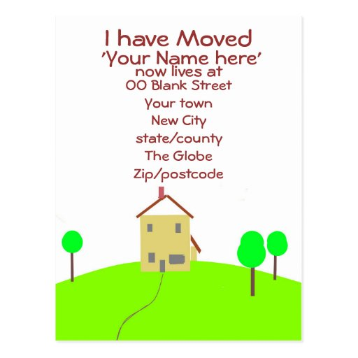 I have moved customize postcard