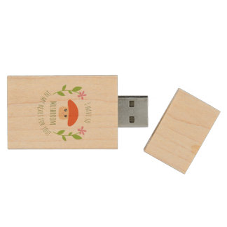 I Have So Mushroom In My Heart For You Pun Humor Wood USB Flash Drive
