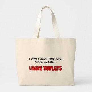 I Have Triplets Large Tote Bag