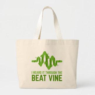 I Heard It Through The Beat Vine Large Tote Bag