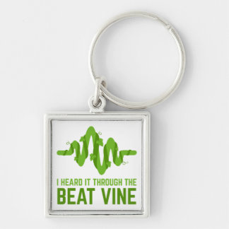 I Heard It Through The Beat Vine Silver-Colored Square Keychain