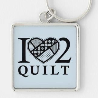 I Heart 2 Quilt by FiberFlies Keychain