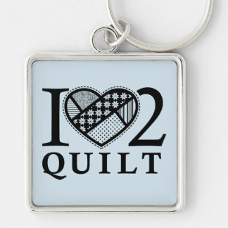 I Heart 2 Quilt by FiberFlies Silver-Colored Square Keychain