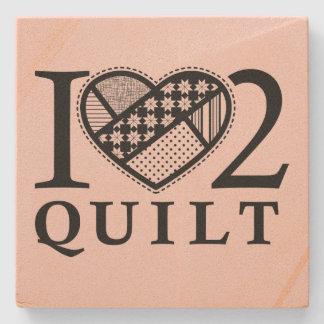 I Heart 2 Quilt by FiberFlies Stone Coaster