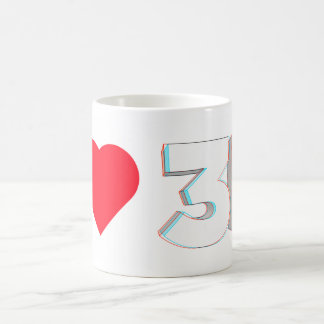 I HEART 3D CLASSIC WHITE COFFEE MUG