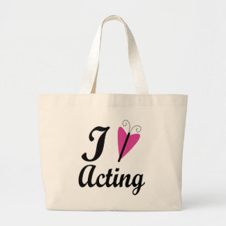I Heart Acting Pink Butterfly Large Tote Bag