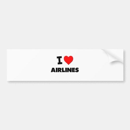 I Heart Airlines Bumper Sticker