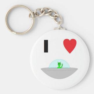 I heart Aliens Basic Round Button Keychain