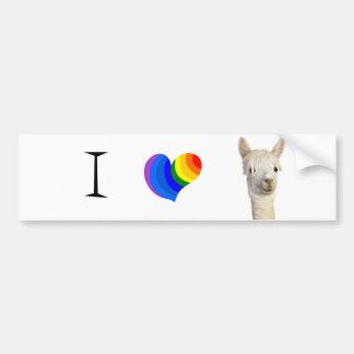 I heart alpaca bumper sticker