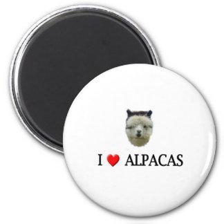 """I """"heart"""" alpacas 2 inch round magnet"""