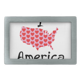 I heart America Rectangular Belt Buckle