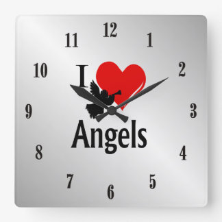I Heart Angels Square Wall Clock