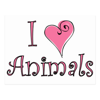 I (heart) animals postcard