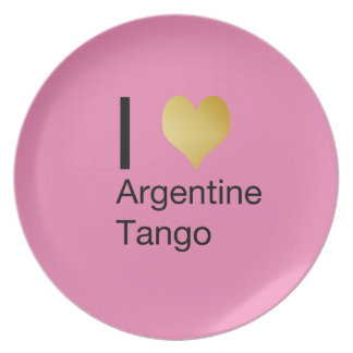 I Heart Argentine Tango Party Plate