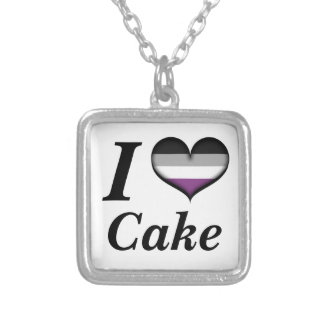 I Heart Asexual Cake Silver Plated Necklace