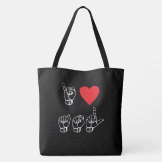 I Heart ASL I Love American Sign Language Tote Bag