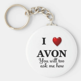 i heart avon ask me how keychain