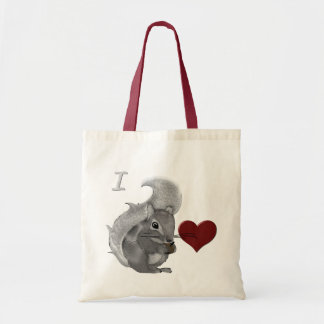 I Heart Baby Squirrels Fuzzy Animal Tote Bag