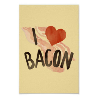 I heart bacon poster