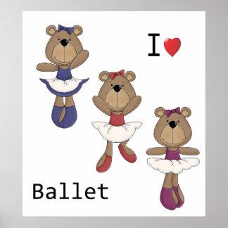I Heart Ballet Bear Ballerina's Poster