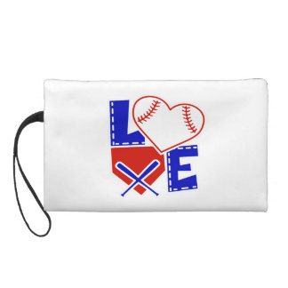I Heart Baseball - I Love Base Ball Bat Homeplate Wristlet