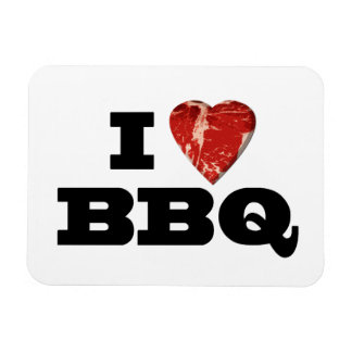 I Heart BBQ, Funny Beef Steak Grill Rectangular Photo Magnet