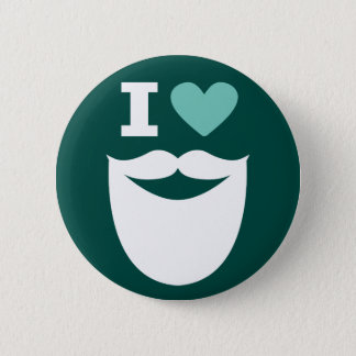 I Heart Beard Button - Green White and Mint