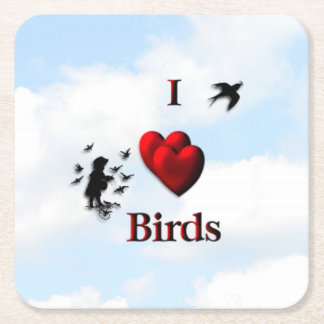I Heart Birds Square Paper Coaster