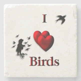 I Heart Birds Stone Coaster