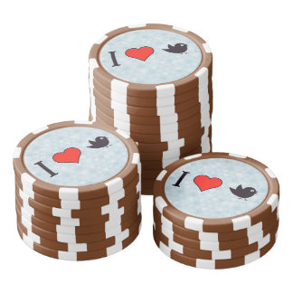 I Heart Birds With Black Feathers Poker Chip Set